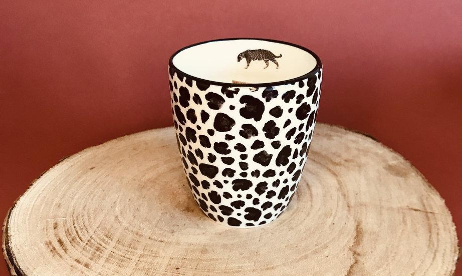 Bougie léopard mèche crépitante parfum au choix