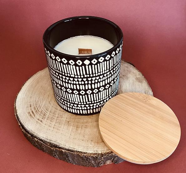 Grosse Bougie ethnique couvercle bois mèche crépitante parfum au choix