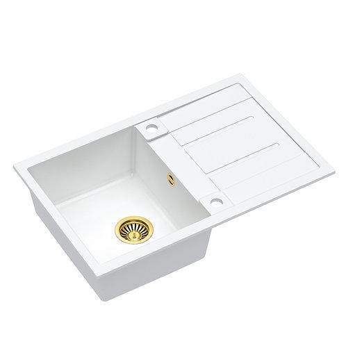 Zlewozmywak granitowy Morgan 111 Biały/Złoty PVD + syfon QUADRON