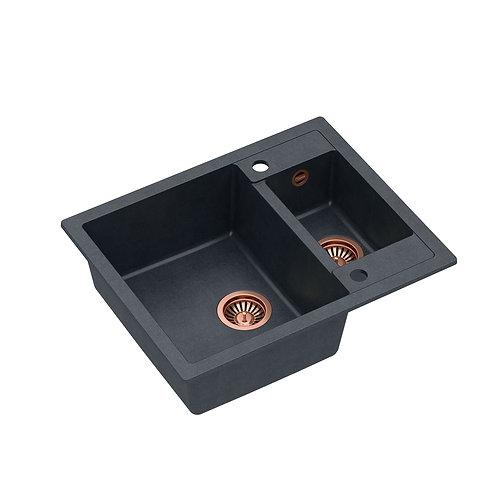 Zlewozmywak granitowy Morgan 150 Czarny/Miedź PVD + syfon QUADRON