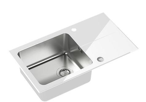zlew szklany hugh 111 biały stalowy steiner profil