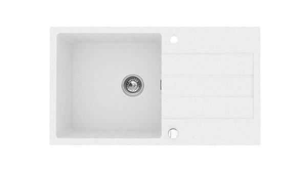 Zlew granitowy Sparta Plus 78x48 1-komorowy Biały polarny PYRAMIS
