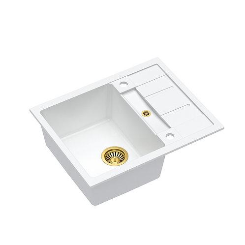 Zlewozmywak granitowy Morgan 116 Biały/Złoty PVD + syfon QUADRON