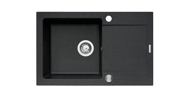 Zestaw zlew granitowy MIDO 79x50 Czarny + bateria + akcesoria PYRAMIS