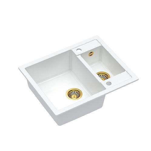 Zlewozmywak granitowy Morgan 150 Biały/Złoty PVD + syfon QUADRON