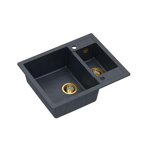 Zlewozmywak granitowy Morgan 150 Czarny/Złoty PVD + syfon QUADRON