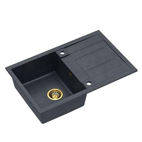 Zlewozmywak granitowy Morgan 111 Czarny/Złoty PVD + syfon QUADRON