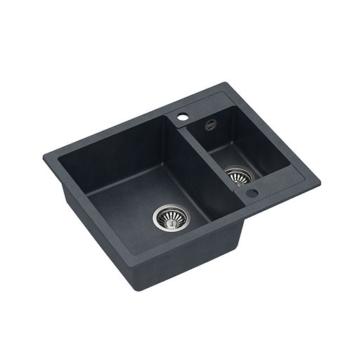 Zlewozmywak granitowy Morgan 150 Czarny/Stal PVD + syfon QUADRON