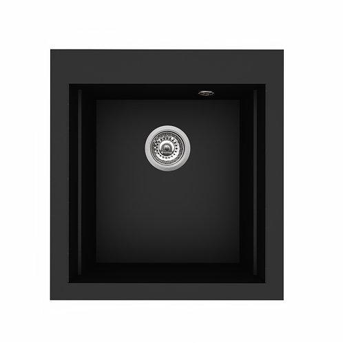 Zlewozmywak granitowy SIROS 47x51,5 Karbon + akcesoria PYRAMIS