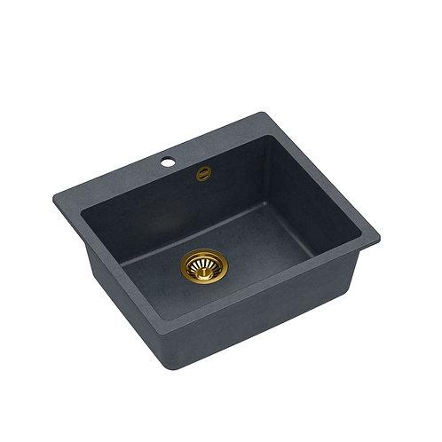 Zlewozmywak granitowy Morgan 110 Czarny/Złoty PVD + syfon QUADRON