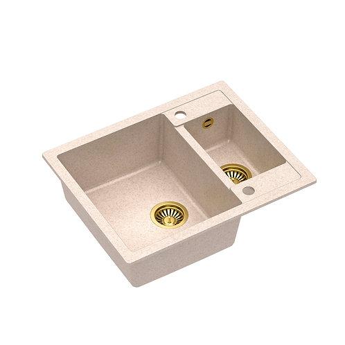 Zlewozmywak granitowy Morgan 150 Beż/Złoty PVD + syfon QUADRON