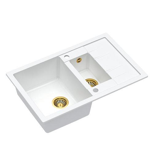 Zlewozmywak granitowy Morgan 156 Biały/Złoty PVD + syfon QUADRON