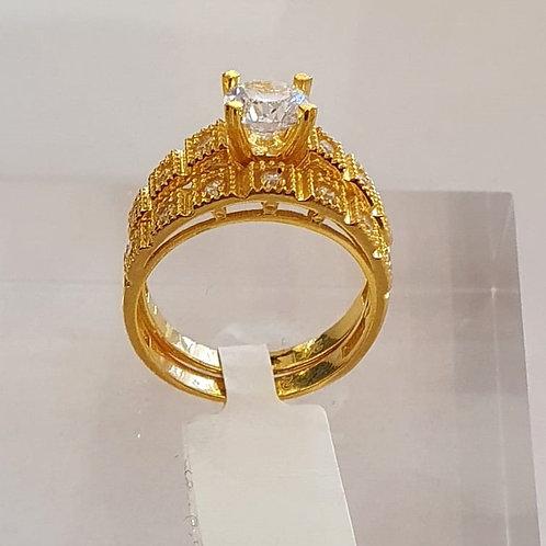 21CT gold ring set - Engagement Rings / Wedding Set (twin rings)