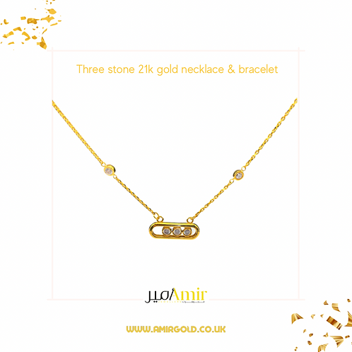 Three stones necklace & bracelet 21k gold set