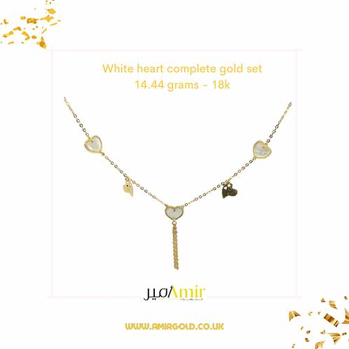 White heart gold set - 18k