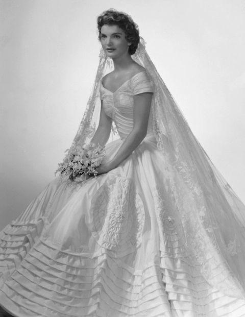 Jackie Kennedy's 1953 wedding dress to John F Kennedy designed by Ann Lowe