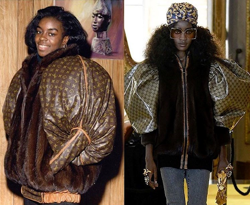 (left) Retired Olympic Runner Gold & Silver Medalist: Diane Dixon wearing the original ballo  on sleeved leather jacket by Dapper Dan in 1989 (right) Gucci's reinterpretation of Dapper Dan's work in their Cruise 2018 Collection Source: Unknown