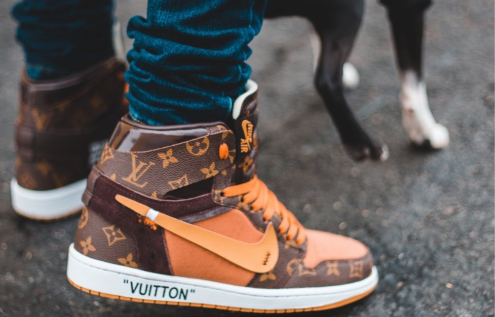 Louis Vuitton monogrammed printer Nike Jordan 1's Source: Erik McLean via pexel.com