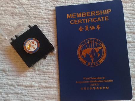Renovación de la membresía a la World Federation of Acupuncture-Moxibustion Societies (WFAS)