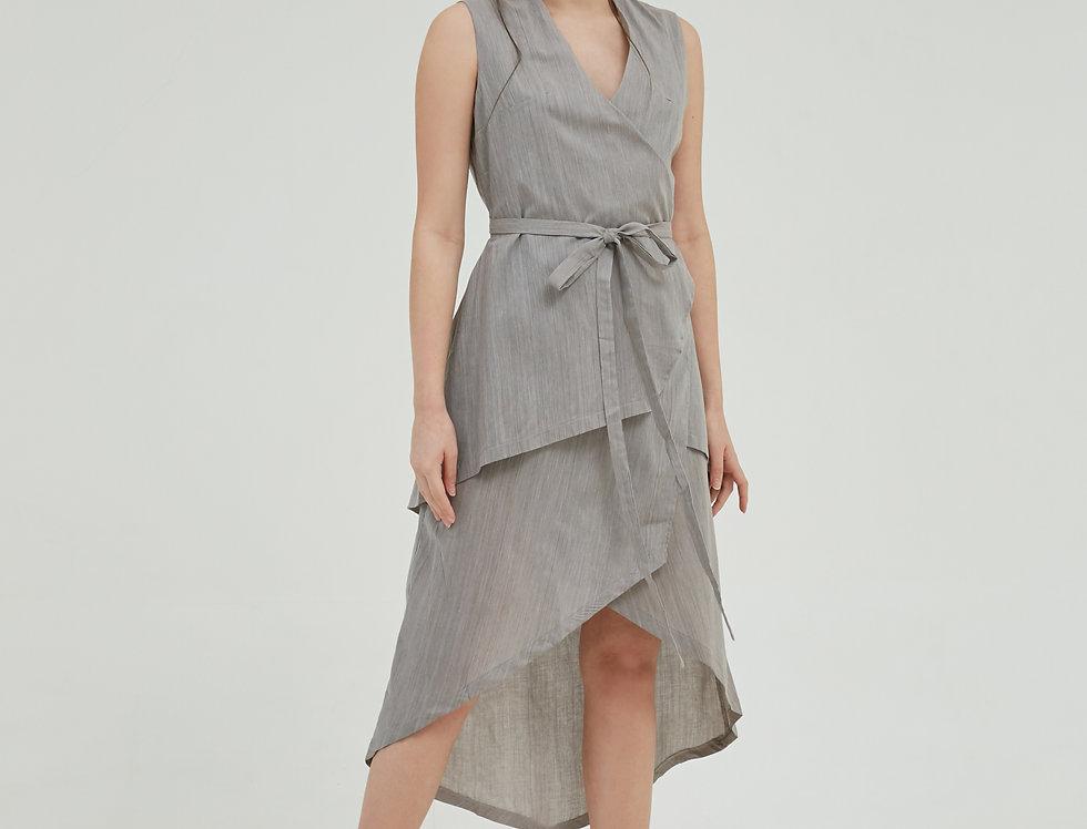 Serena Wrap Dress -Grey