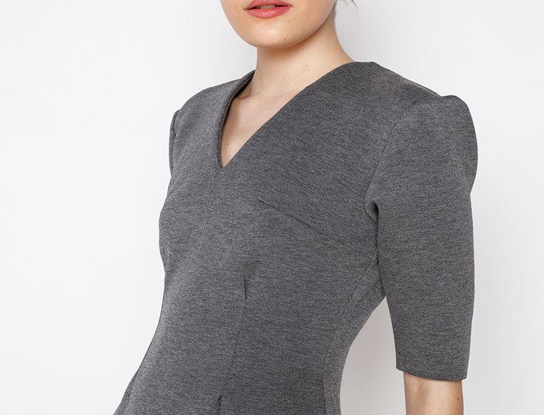 Zoe Neoprene Dress - Grey