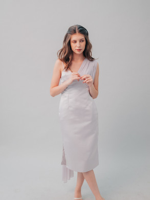 Victoria Sash Dress in Lilac
