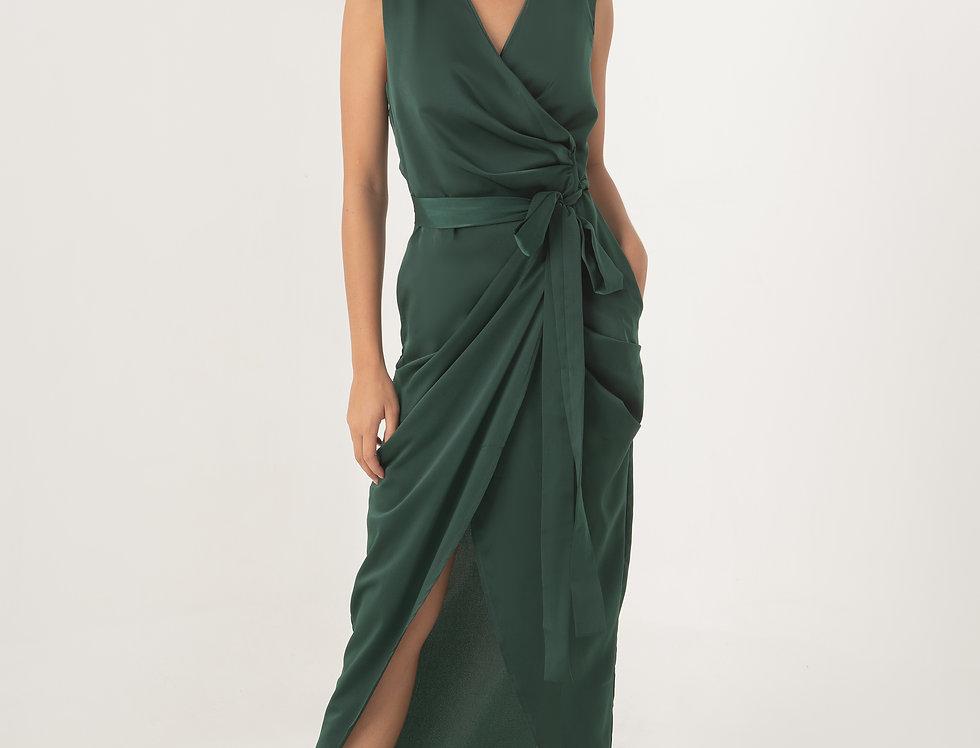 Aten Wrap Dress - Forrest Green