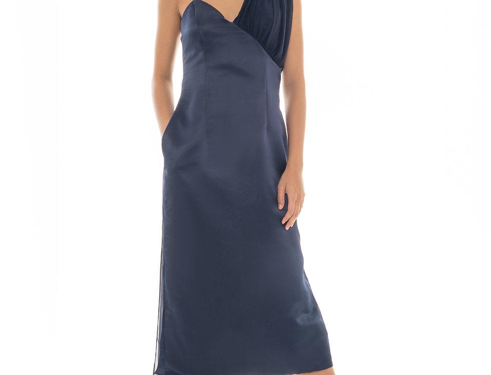 Victoria Sash Dress - Navy Blue