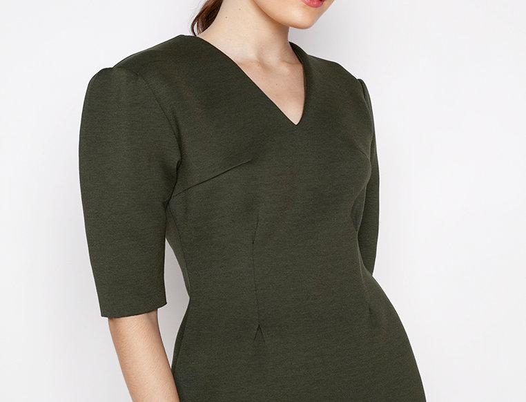 Zoe Neoprene Dress - Army Green