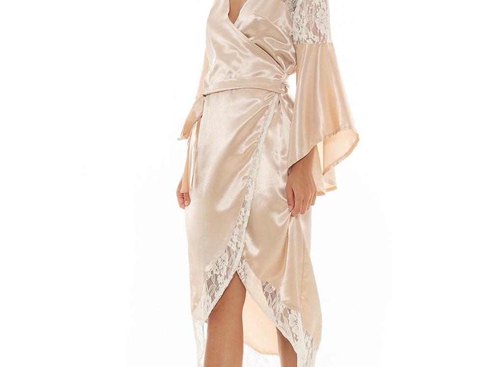 Esther Lace Robe - Champagne