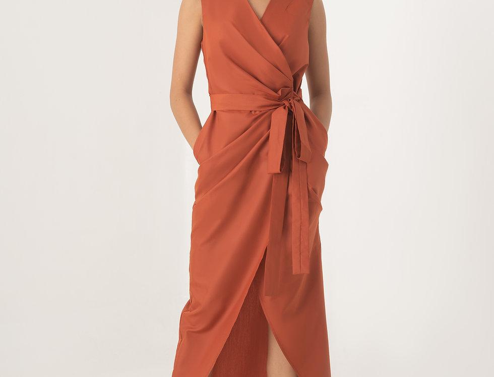Aten Wrap Dress - Brick Red