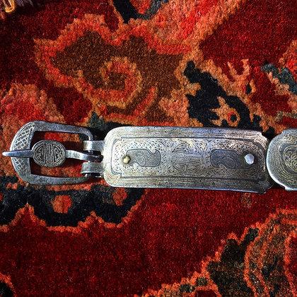 チベット 銀象嵌革ベルト