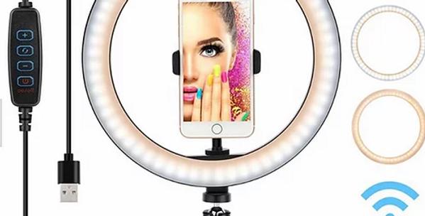 Ringue de luz com suporte para telemóvel e tripé