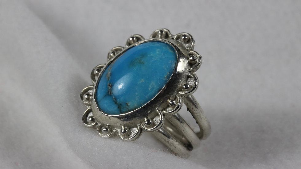 Large American Turquoise set in Argentium(TM) ring