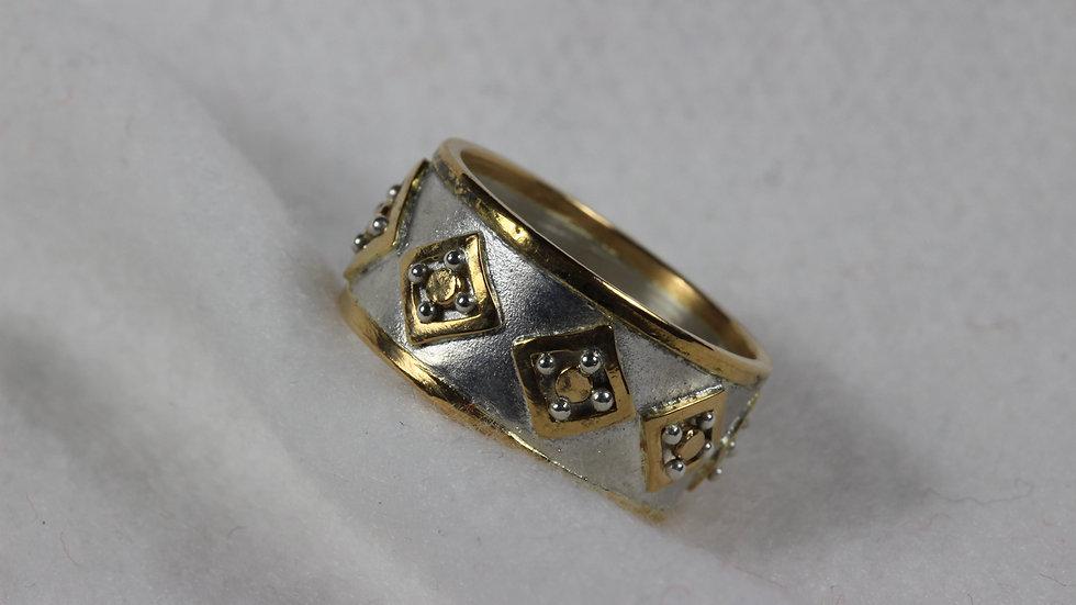 Argentium(TM) and 22 kt gold Squares ring.