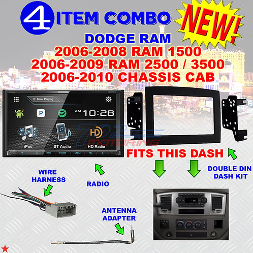 06 07 08 09 10 DODGE RAM CAR STEREO RADIO DOUBLE DIN INSTALL DASH PANEL KIT DR58