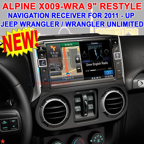 "ALPINE X009-WRA 9"" DVD/CD NAVIGATION RECEIVER FOR SELECT 2011 - UP JEEP WRANGLER"