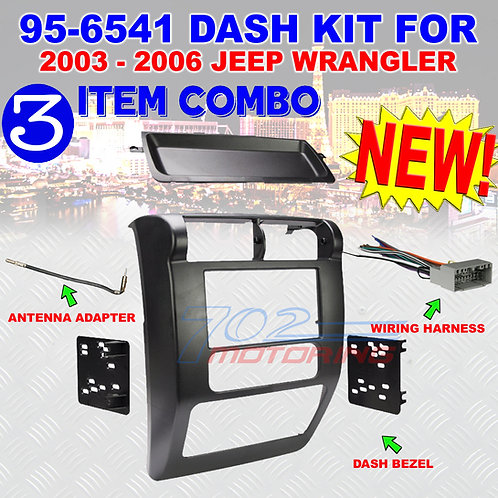 2002-2006 JEEP WRANGLE 95-6541 DOUBLE DIN DASH KIT + HARNESS + ANTENNA ADAPTER