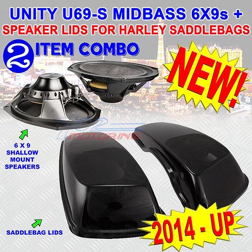2014 + UP HARLEY VIVID BLACK HARD SADDLEBAG 6X9 SPEAKER LIDS + UNITY U69-S 6X9s