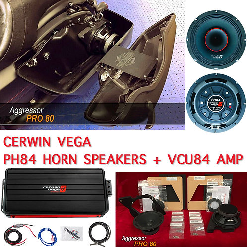 "AGGRESSOR PRO 80 PAIR / 98 - UP HARLEY 8"" KIT+ CERWIN V. PH84 SPEAKERS VCU84 AMP"