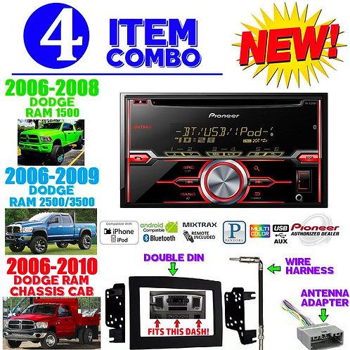 06-10 DODGE RAM AVH-X720BT + 95-6528B + HARNESS + ANTENNA ADAPTER