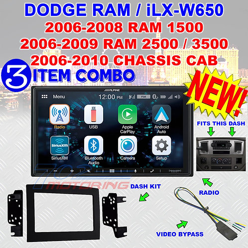 06 07 08 09 10 DODGE RAM CAR STEREO RADIO DOUBLE DIN INSTALL KIT ALPINE iLX-W650