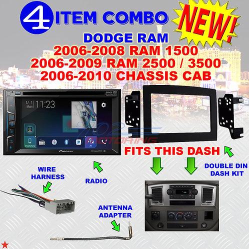 06 07 08 09 10 DODGE RAM CAR STEREO RADIO DOUBLE DIN INSTALL DASH PANEL KIT DR52