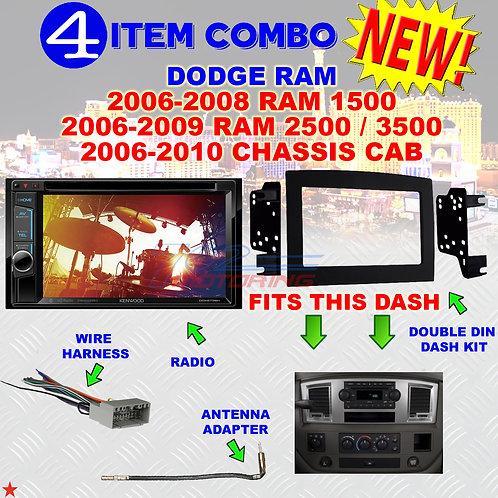 06 07 08 09 10 DODGE RAM CAR STEREO RADIO DOUBLE DIN INSTALL DASH PANEL KIT DR07