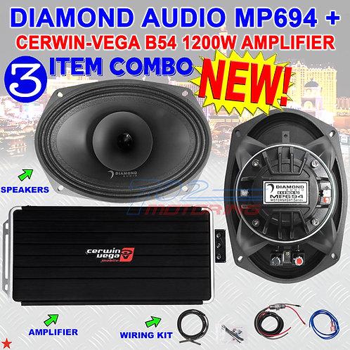 DIAMOND AUDIO MP694 6X9 PRO FULL-RANGE CO-AX HORN SPEAKERS + CERWIN-VEGA B54 AMP