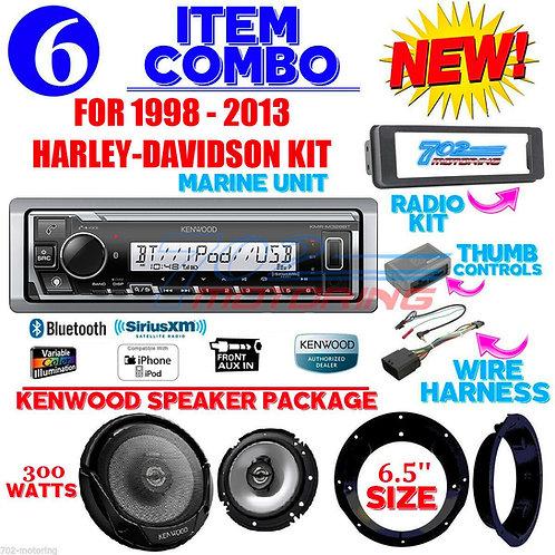 FOR 98-2013 HARLEY KENWOOD MARINE KMR-M328BT RADIO SPEAKER KIT TOURING INSTALL
