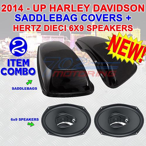DCX 690.3 SPEAKERS + 2014 UP HARLEY VIVID BLACK HARD SADDLEBAG 6X9 SPEAKER LIDS