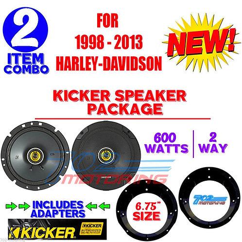 "KICKER 6.75"" 46CSC674 & SPEAKER ADAPTER PACKAGE FOR HARLEY DAVIDSON MOTORCYCLES"