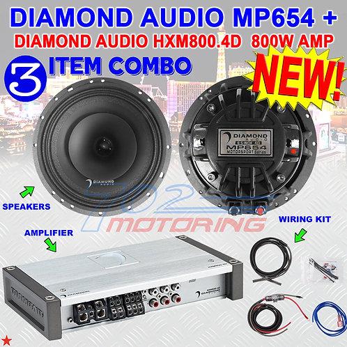 """DIAMOND AUDIO MP654 6.5"""" PRO FULL-RANGE CO-AX HORN SPEAKERS + HXM800.4D AMP NEW!"""