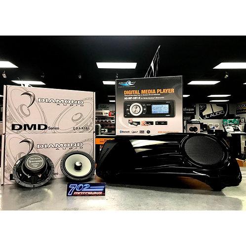 2X DMD652 + AQUATIC AV AQ-MP-5BT-H HARLEY DAVIDSON RADIO + BC-HD65PR SADDLEBAG